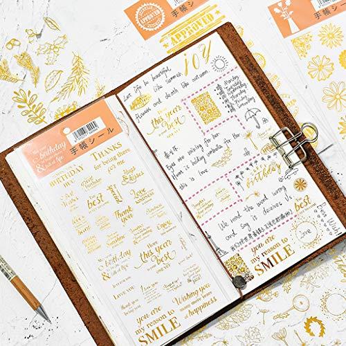 Feelairy 6 Blatt Scrapbooking Aufkleber Selbstklebende Vintage Deko Sticker Floral Pflanzen Buchstaben 3D Aufkleber für Fotoalbum Kalender Notizbuch Bullet Journal DIY Dekoration (Gold)