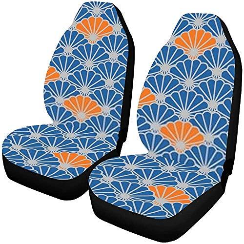 Auto Stoelhoezen Voorstoelen 2 st Japanse Ventilator Vector Blauw Voertuig Seat Protector Auto Mat Covers e, C