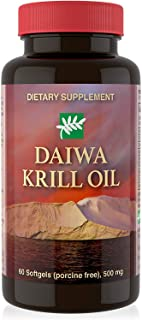 Daiwa Krill Oil – Omega 3 Krill Oil Capsules for Brain, Heart & Joint Support – Krill Oil Supplement with No Fishy Aftertaste - Natural Red Krill Oil Omega 3 Softgels, 60 Count
