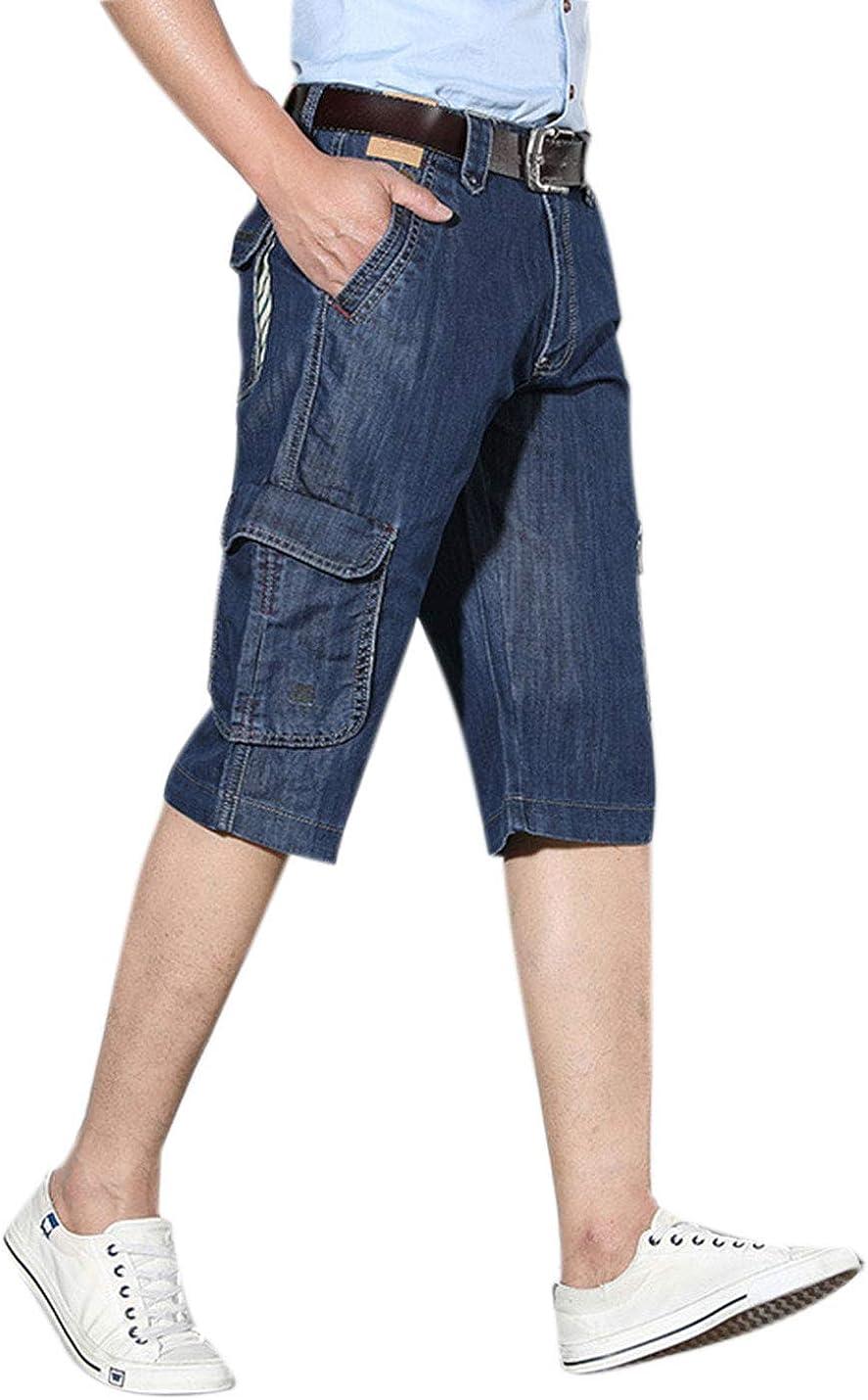 Yeokou Men's Relaxed Fit Denim Pockets Cargo Jeans Bermuda Shorts Capri Pants
