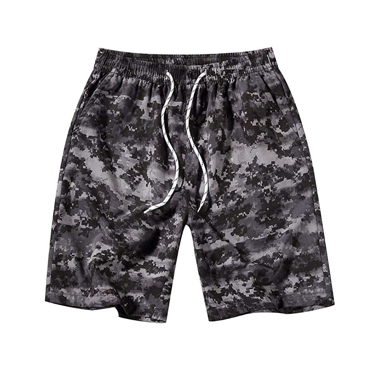 JULYKI Mens Swimsuit Swim Trunks Drawstring Elastic Waist Beach Shorts Hawaiian Boardshorts Quick Dry Bathing Suit