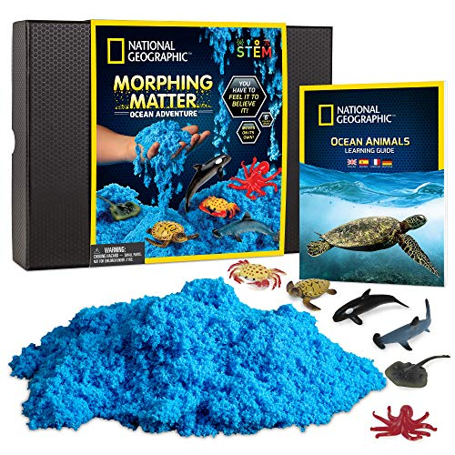 NATIONAL GEOGRAPHIC Ocean Morphing Matter – Play Set Comes with 3 Cups of Morphing Matter, 6 Ocean Animal Figures, Great Kinetic Sensory Activity for Boys & Girls
