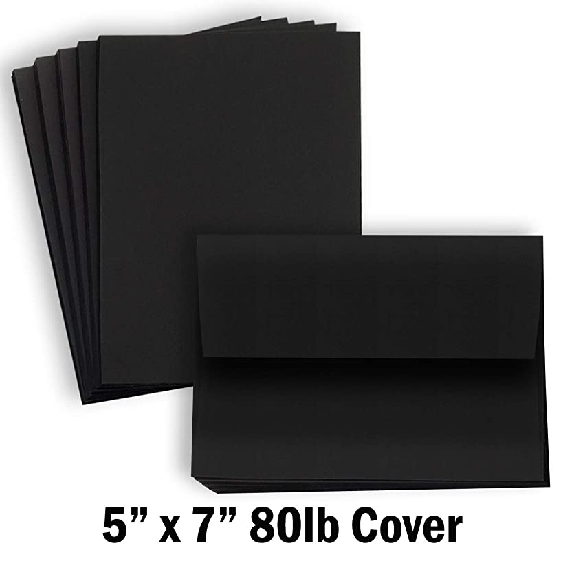 Hamilco Black Colored Cardstock Thick paper - Blank Note Greeting Invitations & Index Cards with Envelopes - 5 x 7