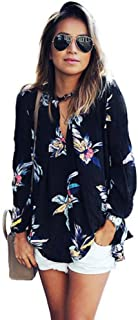 2018 Floral Chiffon Shirt for Women Keyhole Long Sleeve Tops Loose Blouse Casual