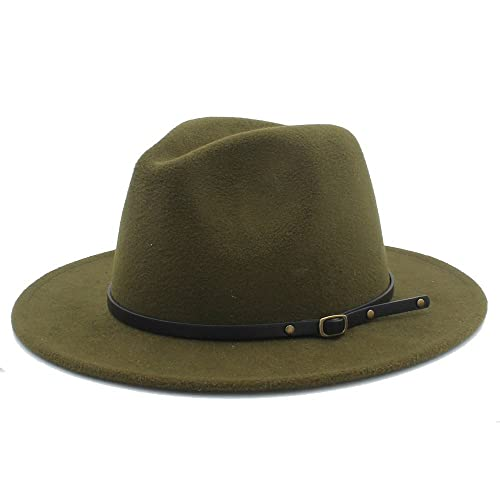 5521fc4a8e4b2 Sunny Baby Sombreros de ala Ancha Fedora de Lana para Mujer Sombreros de  sombrerera de Jazz para