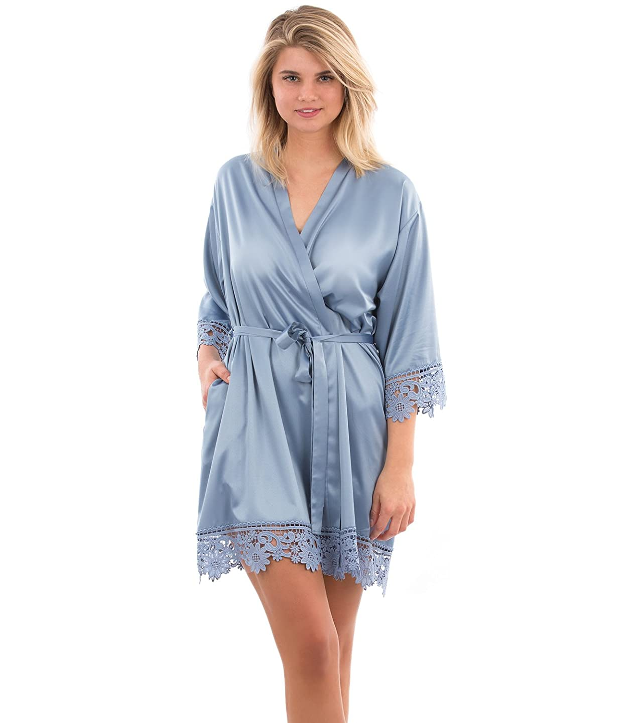 VEAMI Annabelle Lace Satin Robe, Short Robe for Women