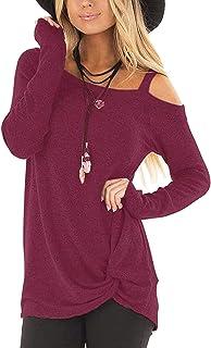 TIANHOH Femmes Chandail Col Rond Fille Mi-Longueur Casual Shirt Robe Mode Nouveau Chemisier Couleur Unie Blouse L/âche T-Shirt Printemps Automne Hauts Pull /à Manches Longues