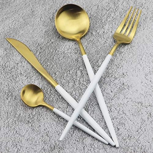 Luxury Cutlery Set Gugrida 24-Piece 18/10 Stainless Steel Satin Finish Flatware Silverware Dinnerware Utensil Set Tableware Include Knife Fork Spoon Teaspoon Service for 6 (White Handle, Gold Matte)