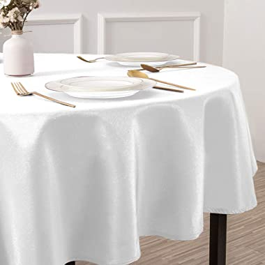 Softalker Round Tablecloth Waterproof & Stain Resistant Table Cloth Wrinkle Free Fabric Washable 210GSM Polyester Table C