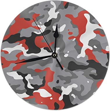 Red Camouflage 9.84 Inch Rustic Clock in, Silent Non-Ticking Battery Operated Hanging Clock Decorative for Living Room, Kitch