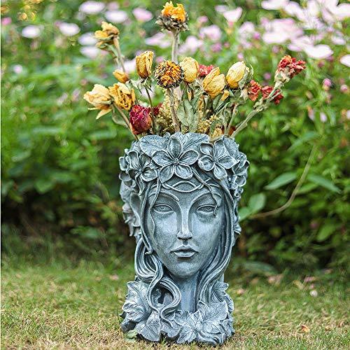 Sungmor Fioriera in Resina Premium - Testa Alta 35 cm - Vaso per Fiori con Figurine di Bellezza - Vaso di Fiori Artificiali per Piante Decorative