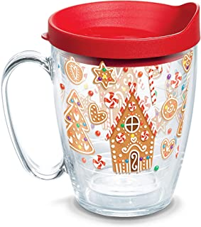 Tervis 1273242 Gingerbread Houses Insulated Tumbler with Wrap and Red Lid, 16oz Mug, Clear