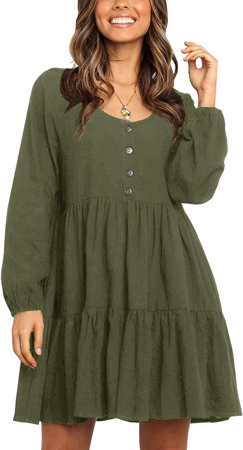 Fleur Wood Women's Casual Button Down Long Sleeve Tiered Ruffle Babydoll Dress Loose Fit
