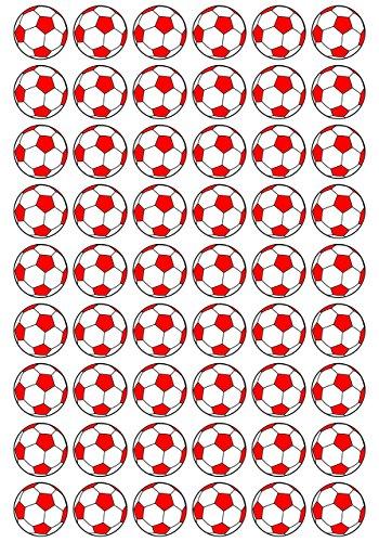 54 Aufkleber, Fußball, Sticker, 30 mm, weiß/rot, aus PVC, Folie, bedruckt, selbstklebend, EM, WM, Bundesliga