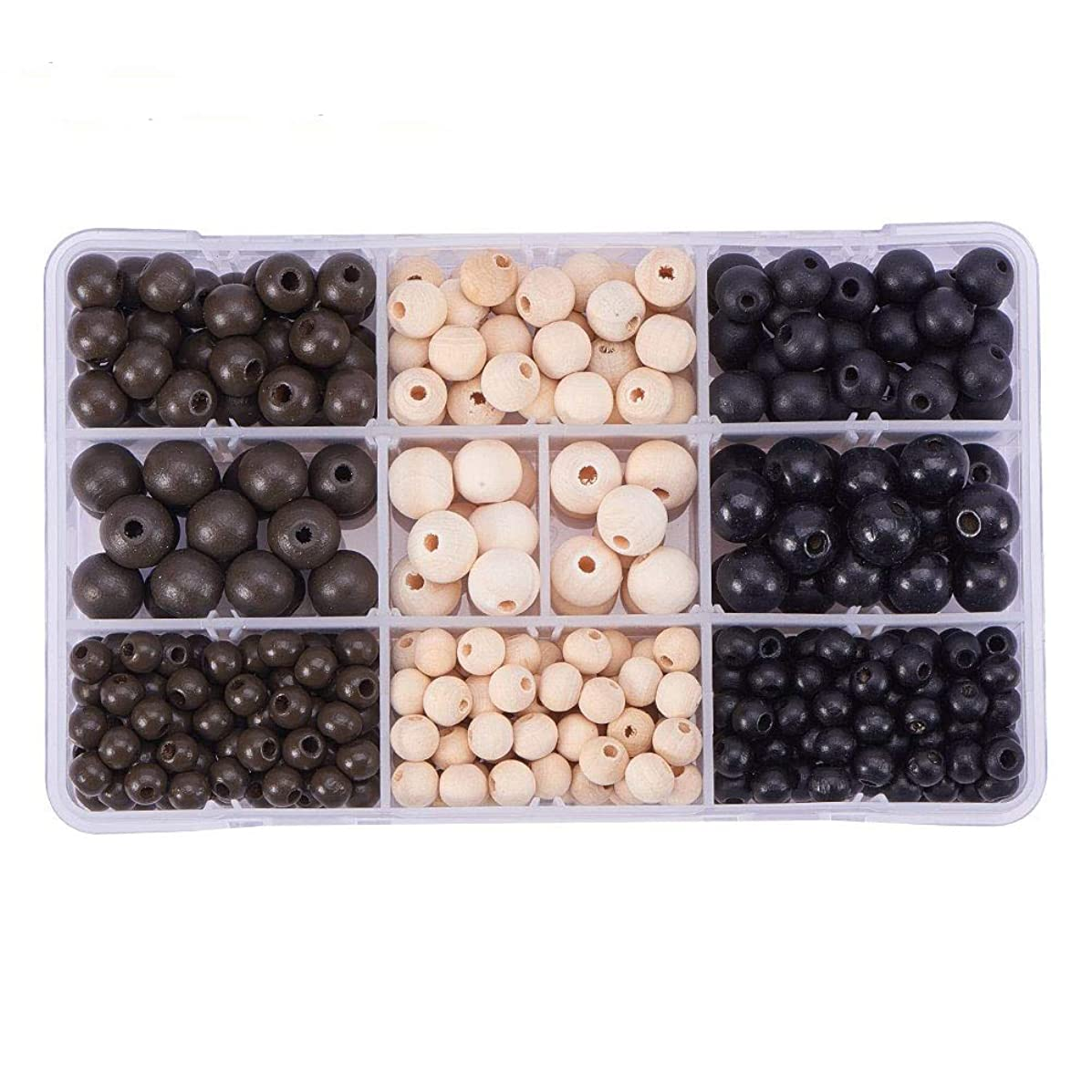 PH PandaHall About 425pcs 7~12mm 3 Color Dyed Round Wood Beads Assorted in Box Non-Toxic Less Burr No Odor for DIY Crafting Jewelry Making