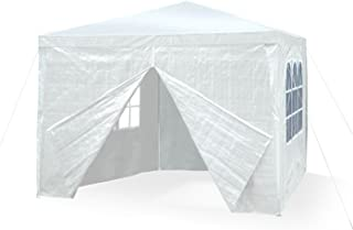 JOM 127134 Carpa de jardín, 3 x 3m, con 4 paredes laterales, 3 ventanas y 1 puerta con cremallera, material PE 110G, varillaje metálico, conectores de plástico, impermeable, con piquetas y cables, blanco