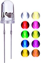 LED Emitting Diodes Light, Waycreat 5mm Clear Light Assorted Kit for Arduino Warm White Red Blue Yellow Green Orange UV Pink Lights (200 Pieces, 10 Colors x 20 Pieces)