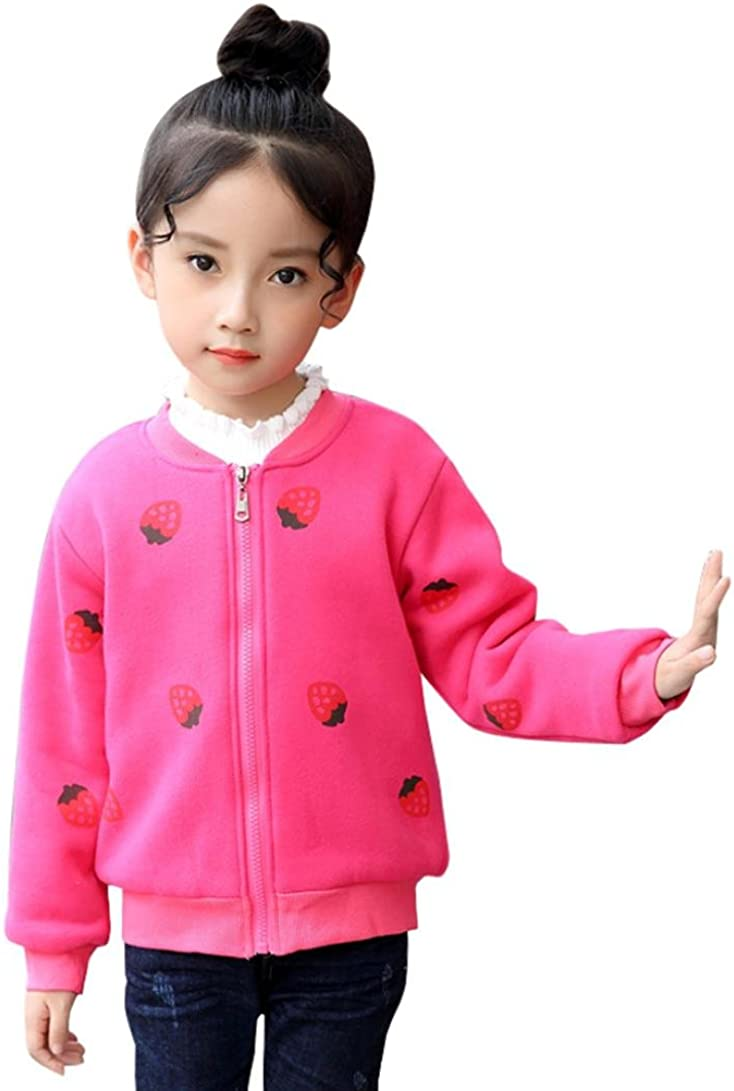 LNGRY 3-7T Baby Girl Winter Autumn Casual Warm Outwear Strawberry Coat Jacket