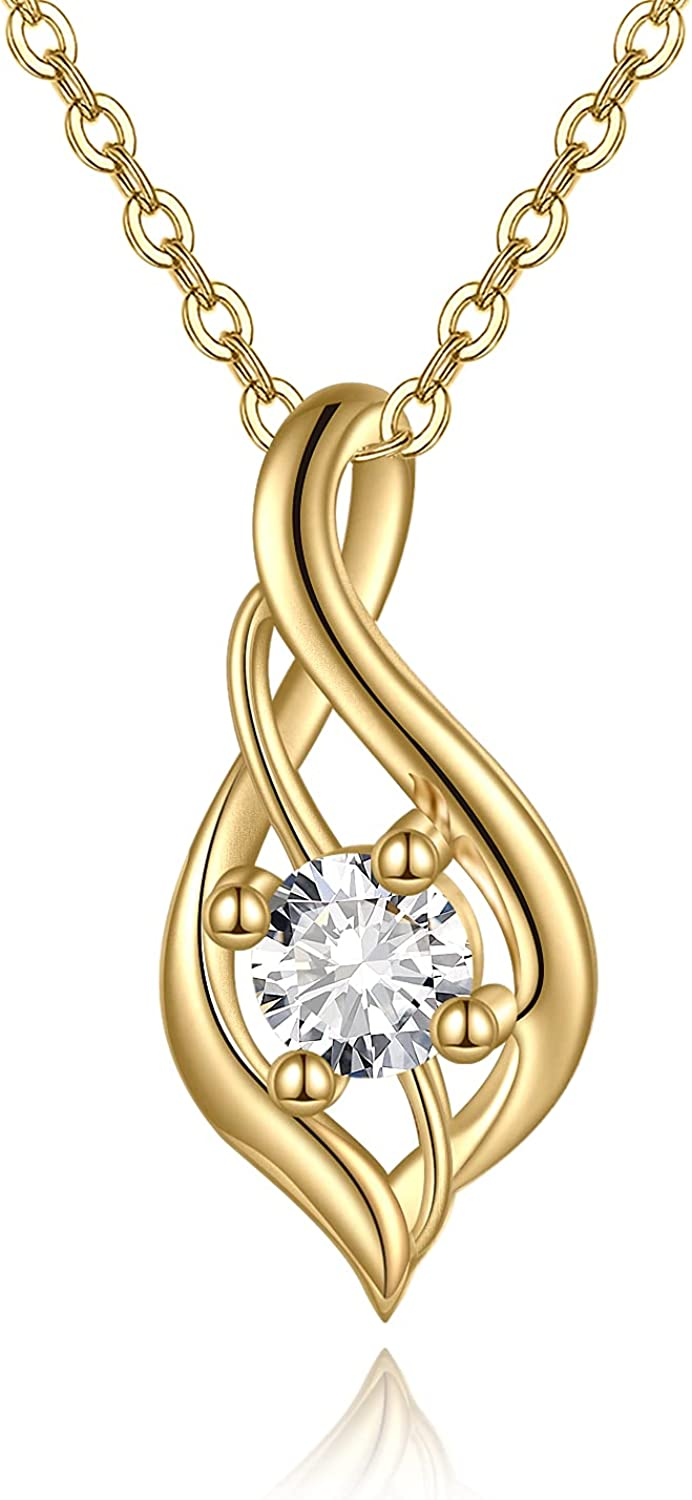 KECHO 14k Yellow Gold Necklace with 0.2ct Moissanite Jewelry Gifts for Women