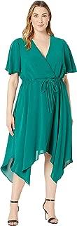Adrianna Papell Women's Plus Size Gauzy Crepe Tie Waist Dress
