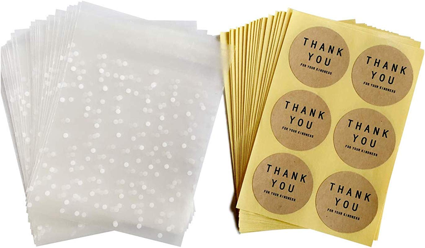 Party Favor Bags White Dots Plastic Pack Candy Cookie Bag Self Adhesive Bags 200 Pcs 204 Round Thank You Labels 3 93x3 93 1 18 Inch