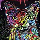 clockfc Pintura Digital Pintura al óleo Colorido Gato Color Set para niños Estudiantes Adultos Wall Art Picture Canvas 40x50cm con Marco