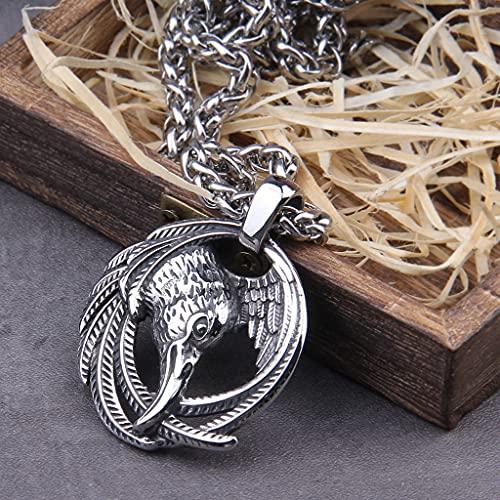 YABEME Collier Pendentif Corbeau de Viking Odin, Bijoux Scandinaves Amulette de Corbeau Païen Celtique pour Hommes Nordiques, avec Chaîne de Quille en Acier Inoxydable,60 cm 23.62 inch