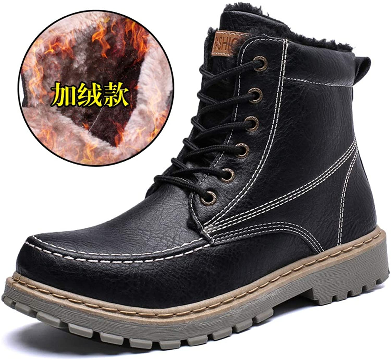 JUJIANFU-shoes 2018 New Men's Fashion Ankle Work Boots Casual Thickening and Fleece Lined Anti-Collision Toe High top Martin Boot