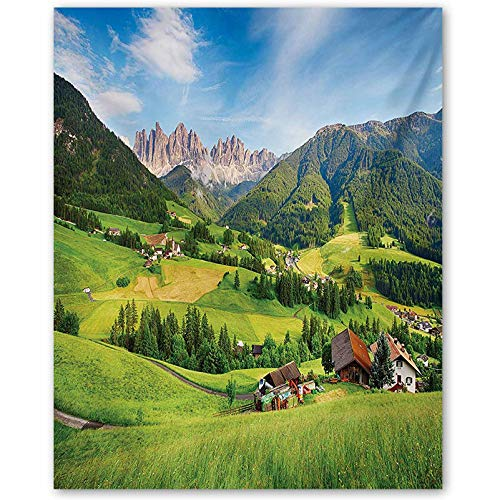 crabee Nature Movie Posters Alps in The Spring Season with Fresh Grass Sky Majestic Mountains Image Artistic Gifts for Seniors Green Blue L30 x H60 Inch