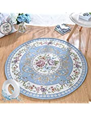 Area Rug Floor Mat Carpet Round 120cm Vintage Pattern Anti-slip Machine Washable for Living Room Dining Room Bedroom Kids Room Light Blue with Nano Double Sided Removable Adhesive Tape 3m