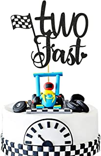 HEETON Two Fast Cake Topper Race Car Racing Second Boy Girl Chequered Flag Birthday Party Supplies Decorations