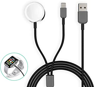 Watch Charger Magnetic 2 in 1 Wireless Braided Charging Cable Compatible with iWatch Series 5/4/3/2/1 iPhone 11/11Pro/Xr/Xs/8/8P Black 3.3ft