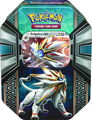 Pokemon TCG: Legends of Alola Solgaleo-GX Tin   Collectible Trading Card Set   4 Booster Packs, 1 Ultra Rare Foil Promo Card Featuring Solgaleo-GX, Online Code Card   Battle and Build Your Pokedex