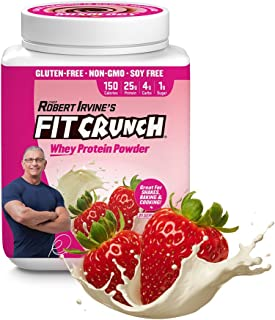 FITCRUNCH Whey Protein Powder, Designed by Robert Irvine, 120 Calories and 25g of Protein, Keto, Gluten Free, Soy Free, and Non-GMO (Strawberry, 18 Servings)