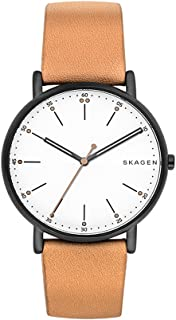 Skagen Men's Analog-Quartz Watch With Leather Calfskin Strap Skw6352, Brown Band