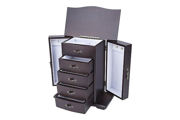 c6ca506f5 Saganizer Cherry Wooden Jewelry Box Organizer