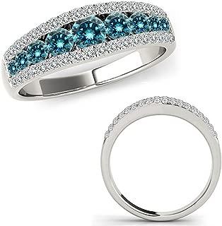 1 Carat Blue Diamond Fancy Eternity Etoil Band Designer Cluster Ring 14K White Gold