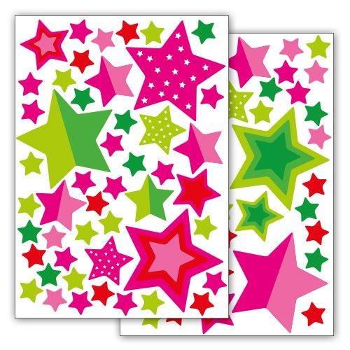 Motoking Fahrradaufkleber Sterne und Sternchen 89 Aufkleber im Sticker Set