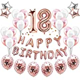 HankRobot 18th Birthday Decorations Party Suppies(38pack)Rose Golden Number 18 Birthday Balloons Happy Birthday Balloon Banner Golden Rose Confetti Balloons Perfect Birthday Decorations for Her