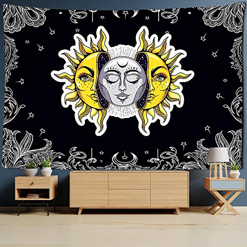 WERT Blanco Negro Colorido Sol Luna Mandala Tapiz Colgante de Pared Tapiz Celestial Tapiz Hippie Tapiz de Pared A10 130x150cm