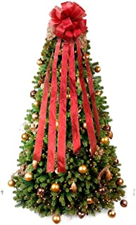 PartyTalk Red Christmas Tree Bow Topper Large Holiday Tree Topper with Wired Edge for Glitter Christmas Decorations Outdoor Indoor 12