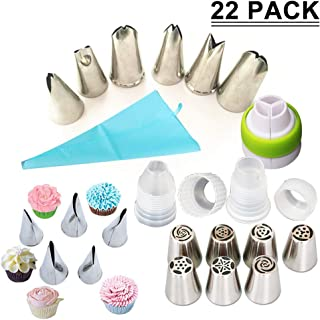 SAYGOGO 72121 Stainless Steel Russian Piping Tips, Baking Decoration Tools - Supplies Set, 5.1 x 3.9 (Pack of 22)