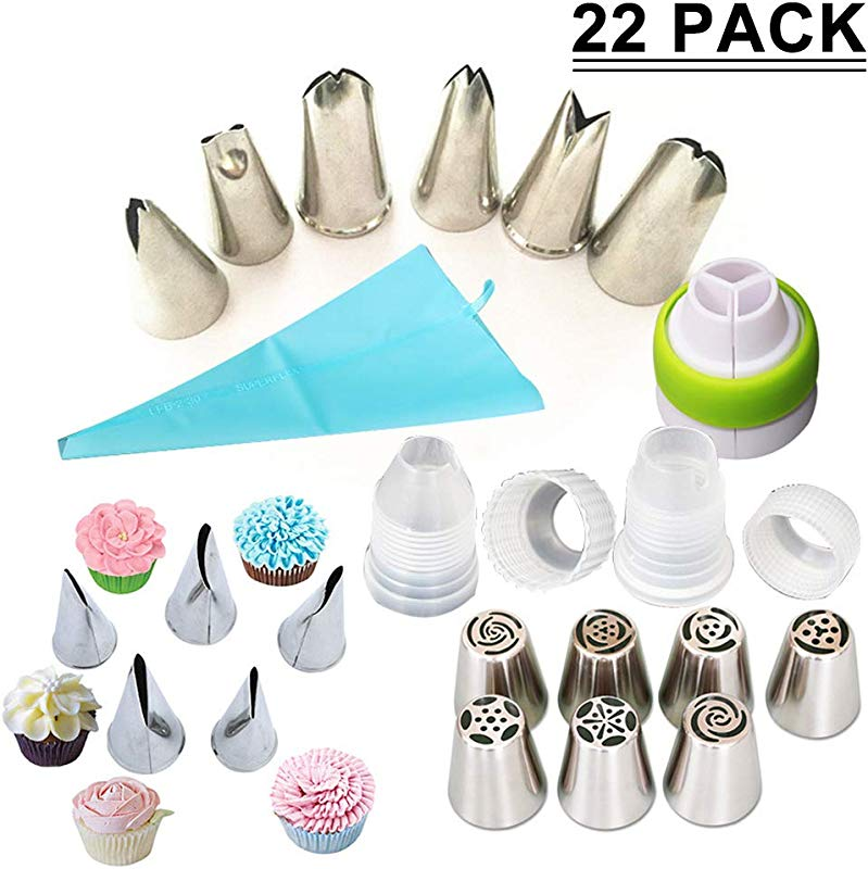 SAYGOGO 72121 Stainless Steel Russian Piping Tips Baking Decoration Tools Supplies Set 5 1 X 3 9 Pack Of 22