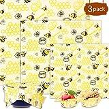 Emballage Cire d Abeille,Emballage Alimentaire Rutilisable de Cire d'abeille cologiques   Zro dchet   Sans Plastique -Lot de 3: 1*Petit, 1*Moyen et 1*Grand,pour fromage, fruits, lgumes et pain