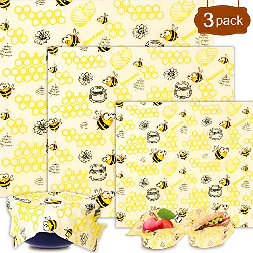 Emballage Cire d Abeille,Emballage Alimentaire Réutilisable de Cire d'abeille écologiques | Zéro déchet | Sans Plastique -Lot de 3: 1*Petit, 1*Moyen et 1*Grand,pour fromage, fruits, légumes et pain