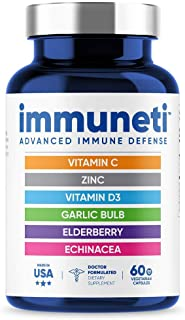 Immuneti - Advanced Immune Defense, 6-in-1 Powerful Blend of Vitamin C, Vitamin D3, Zinc, Elderberries, Garlic Bulb, Echin...
