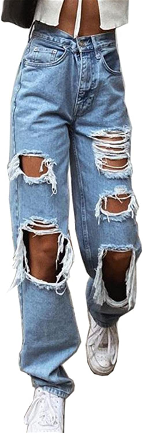 MASZONE Ripped Jeans for Women, Womens Y2K Fashion High Waist Ripped Jeans Stretch Baggy Denim Casual Pants Streetwear