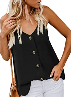 Women's Button Down V Neck Tops Loose Casual Long Sleeve Shirts Blouses