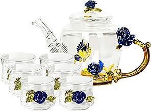 Glass Teapot - 280 ml - with 6 Cups France Enamel Blue Rose Flower Butterfly Decoration Heat Resistant Glass Teapot Kettle...