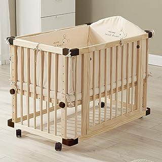 Babybetten aus Holz Dripex 65x100cm Baby Laufgitter Beistellbett Kinderbett mit Rollen, Multifunktionale Laufgitter Kinderbank und Weißwandtafel